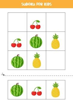 Sudoku com três fotos para crianças em idade pré-escolar. jogo lógico com frutas e bagas fofas.