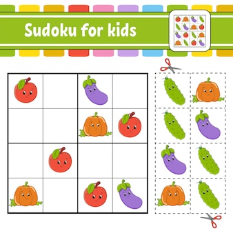 Sudoku de frutas desenhadas à mão