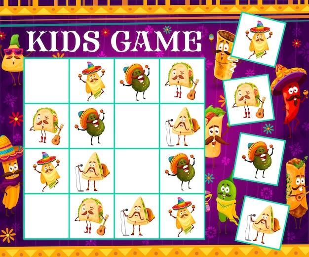 Sudoku kids game cartoon personagens músicos de comida mexicana. enigma do vetor com cantores de tex mex mariachi no tabuleiro de xadrez. tarefa educacional de jogo de tabuleiro, provocação infantil do labirinto para atividades de lazer