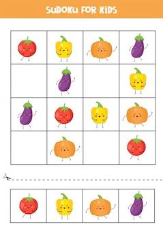 Sudoku para crianças com legumes kawaii fofos.