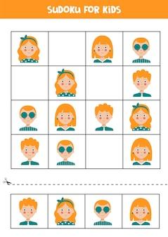 Sudoku para crianças com rostos de menino e menina jogo de lógica educacional