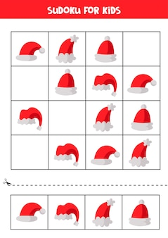 Sudoku para crianças. conjunto de chapéus de papai noel. jogo lógico para crianças. quebra-cabeça educacional para pré-escolares.