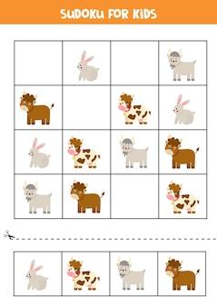 Sudoku para crianças em idade pré-escolar. jogo lógico com animais de fazenda.
