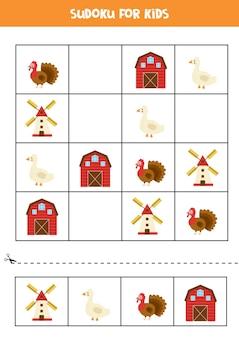 Sudoku para crianças em idade pré-escolar. jogo lógico com bonitos animais de fazenda.