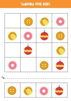 Sudoku para crianças em idade pré-escolar. jogo lógico com objetos circulares.
