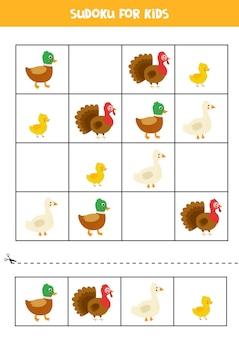 Sudoku para crianças em idade pré-escolar. jogo lógico com pássaros da fazenda.