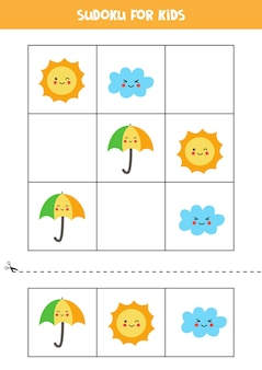 Sudoku para crianças em idade pré-escolar. jogo lógico com sol, nuvem e guarda-chuva.