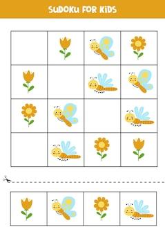 Sudoku para crianças em idade pré-escolar jogo lógico com uma linda borboleta e libélula.