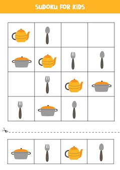 Sudoku para crianças em idade pré-escolar. jogo lógico com utensílios de cozinha.