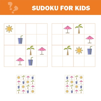 Sudoku para crianças. jogo para crianças em idade pré-escolar, treino lógico. jogo de puzzle para crianças e bebês. treinamento de pensamento lógico.