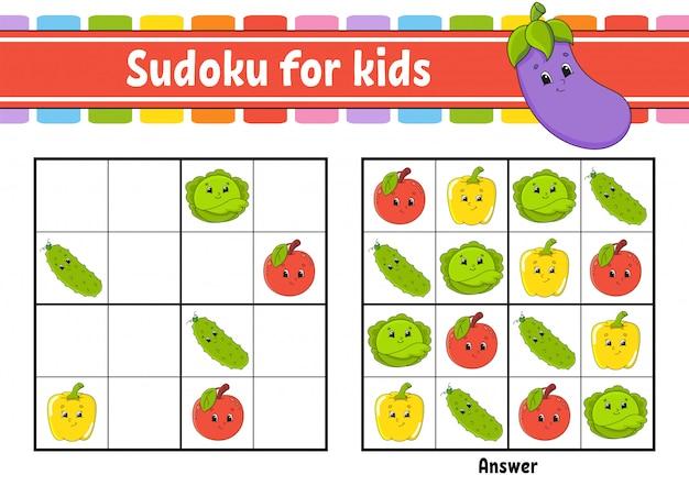 Sudoku para crianças. planilha de desenvolvimento de educação. legumes, frutas. personagem de desenho animado.