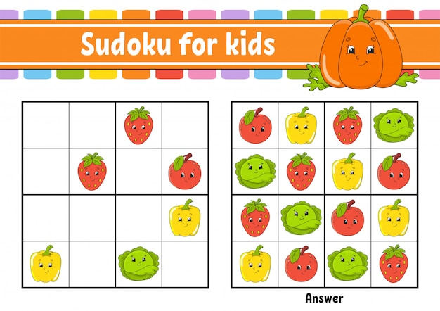 Sudoku para crianças. planilha de desenvolvimento de educação. legumes, frutas.