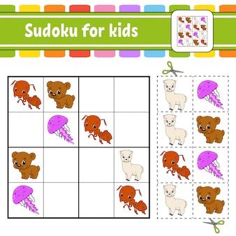 Sudoku para crianças. planilha de desenvolvimento de educação. página de atividade com fotos. jogo de quebra-cabeça para crianças. .