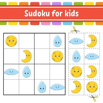 Sudoku para crianças. planilha de desenvolvimento de educação. página de atividade com fotos.