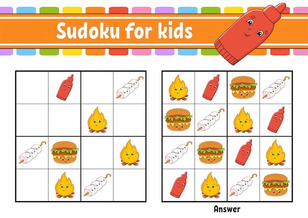 Sudoku para crianças. planilha de desenvolvimento de educação. personagem de desenho animado. página de atividade de cores.