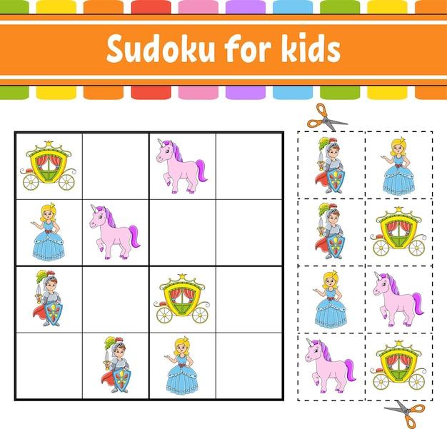 Sudoku para crianças tema de conto de fadas