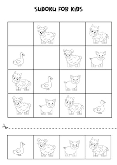 Sudoku preto e branco para crianças em idade pré-escolar. jogo lógico com bonitos animais de fazenda.