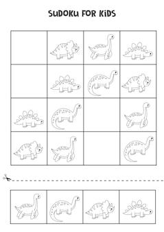 Sudoku preto e branco para crianças em idade pré-escolar. jogo lógico com dinossauros fofos.