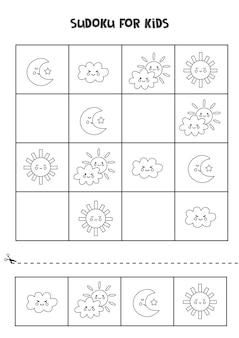 Sudoku preto e branco para crianças em idade pré-escolar. jogo lógico com elementos climáticos.