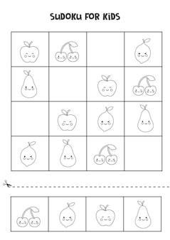 Sudoku preto e branco para crianças em idade pré-escolar. jogo lógico com frutas fofas.