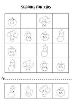 Sudoku preto e branco para crianças em idade pré-escolar. jogo lógico com vegetais bonitos.