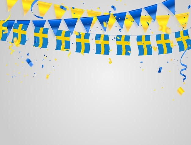 Suécia bandeiras fundo de celebração