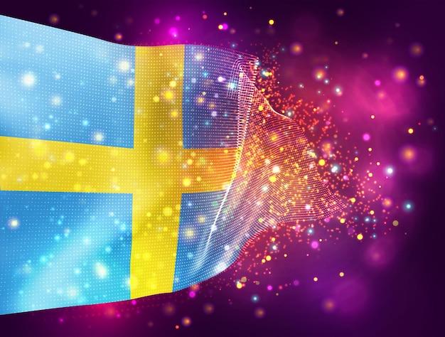 Suécia, vetor bandeira 3d em fundo rosa roxo com iluminação e sinalizadores