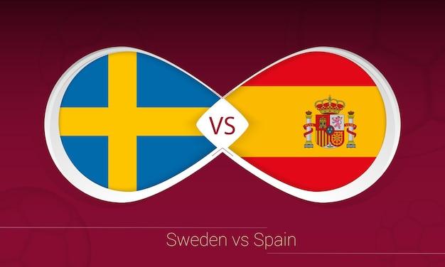 Suécia vs espanha em competição de futebol, grupo b. versus ícone no fundo do futebol. Vetor Premium