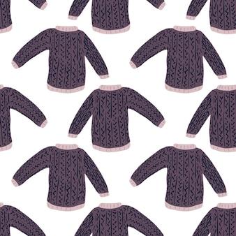 Suéter geométrico doodle padrão de roupa de inverno sem emenda. fundo branco.