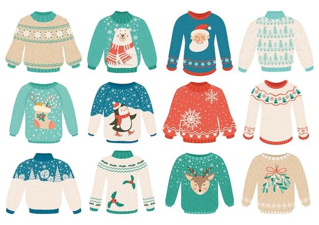 Suéteres feios de desenho animado conjunto de roupas quentes de inverno com enfeites de urso branco pinguim papai noel