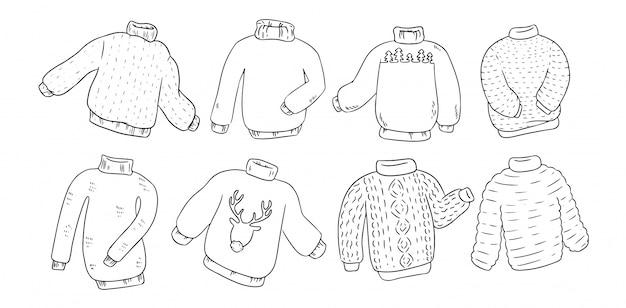 Suéteres hipster definido para colorir
