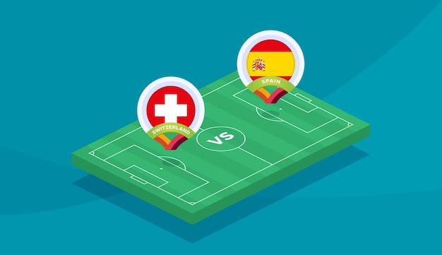 Suíça vs espanha corresponder ilustração vetorial campeonato de futebol 2020