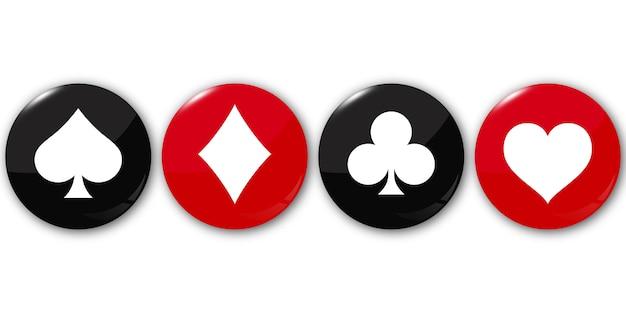 Suit baralho de cartas nos botões redondos.