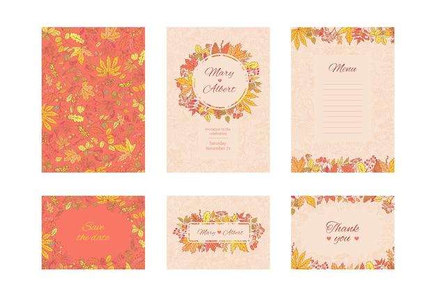 Suíte cartão de convite de casamento. conjunto de cartões de moldura com folhas de outono e grãos. conceito de design decorativo de coleção em cores pastel e brilhantes. convide para um aniversário ou aniversário.