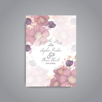 Suite de cartão de convite de casamento com flor