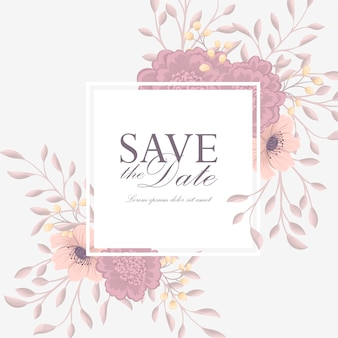 Suite de cartão de convite de casamento com flores. modelo. ilustração vetorial