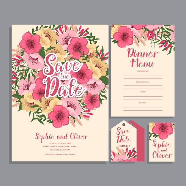 Suite de cartão de convite de casamento com flores.