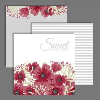 Suite de cartão de convite de casamento com modelo de flor