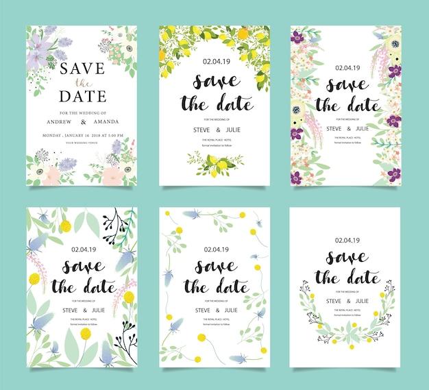 Suíte de cartão de convite de casamento com modelos de flores. ilustração vetorial
