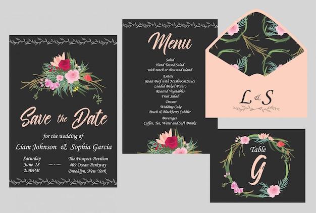 Suite de cartão de convite de casamento.