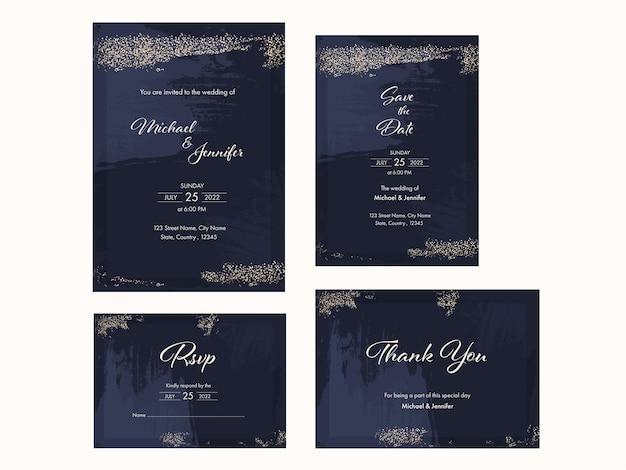 Suíte de convite de casamento com efeito de pincel nas cores azul e dourada.