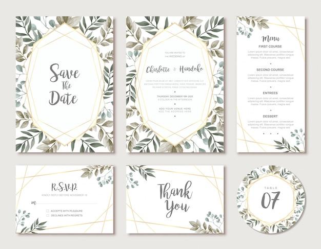 Suite de modelo de cartão de casamento moderno com aquarela folhas verdes