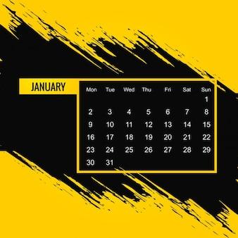 Sujo 2017 calendário de janeiro Vetor grátis