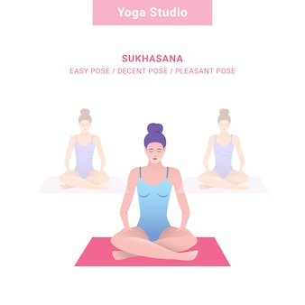 Sukhasana, pose fácil / pose decente / pose agradável. estúdio de ioga. ioga de vetor