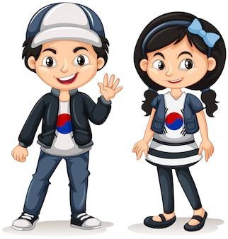Sul-coreano menino e menina
