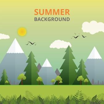 Sumário do verão na história do dia ensolarado no fundo da natureza.