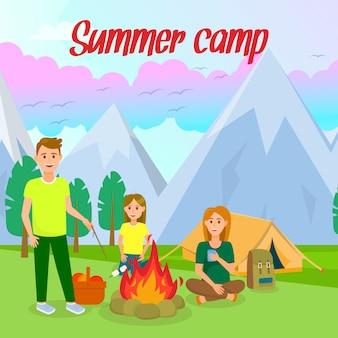 Summer camp vector banner quadrado com letras.