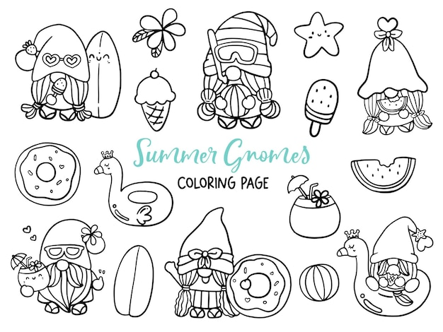 Summer gnomes doodle summer gnome coloring page