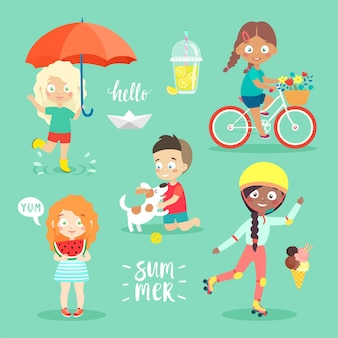 Summer kids conjunto andando de bicicleta, brincando e se divertindo