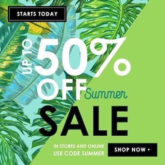 Summer sale ad banner tropical com folhas de palmeira